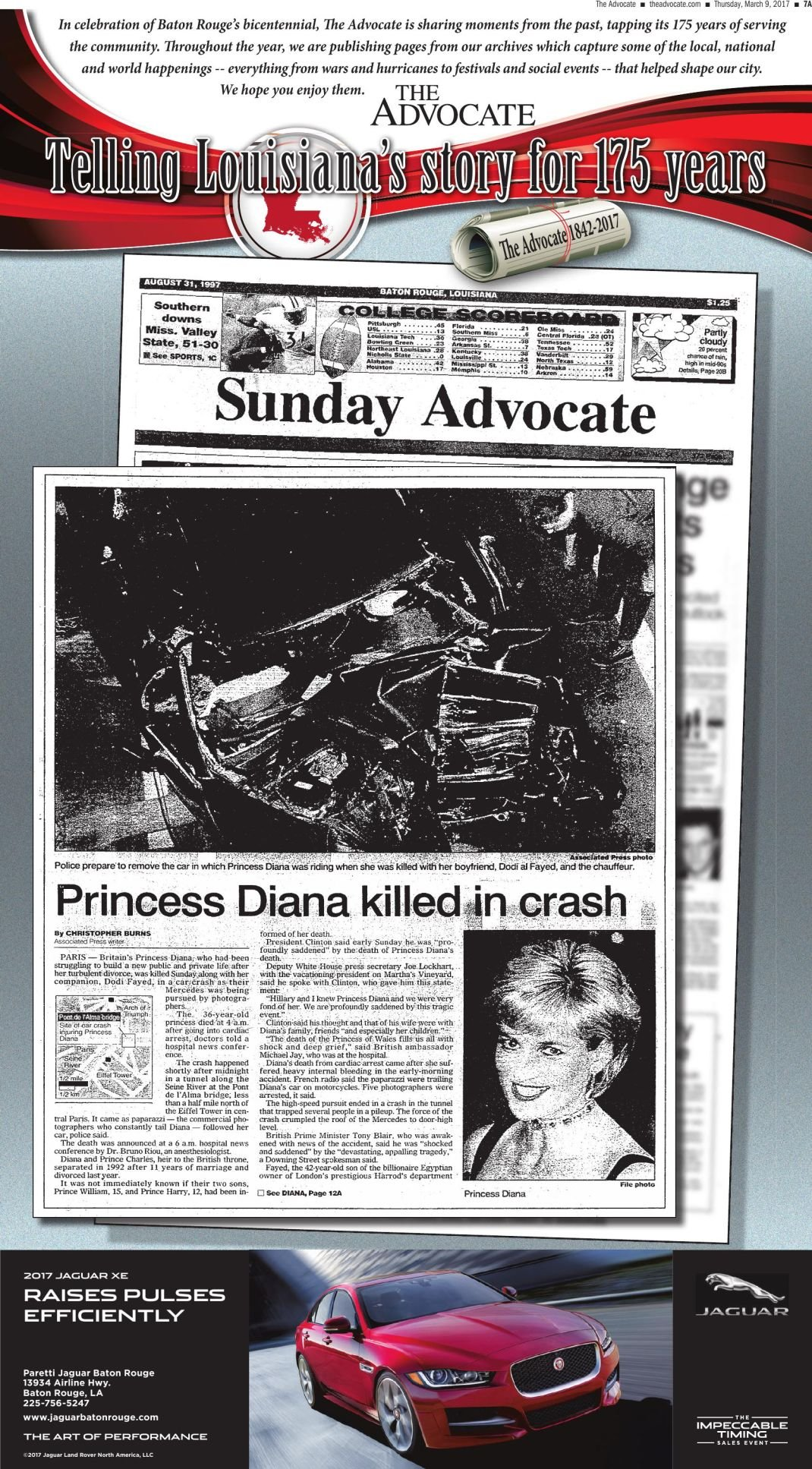 Princess Diana killed in crash