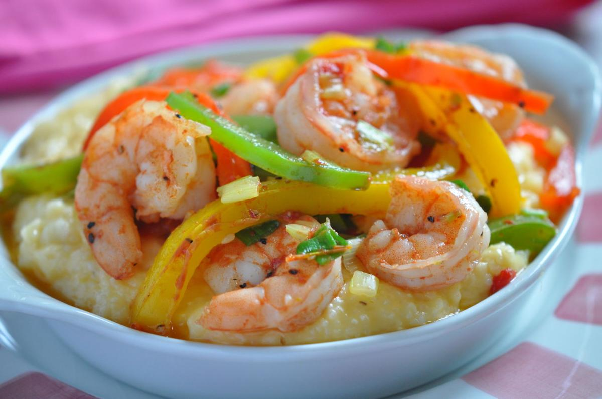 Shrimp and Peppers over Cheese Grits.JPG