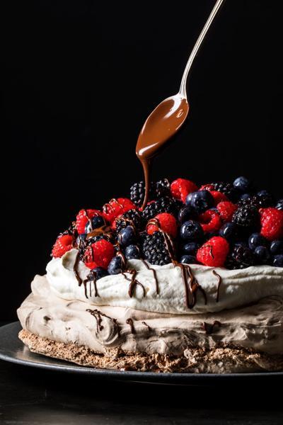 Chocolate Pavlova with Fresh Berries and Whipped Cream