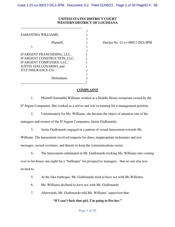 Samantha Williams, D'Argent lawsuit