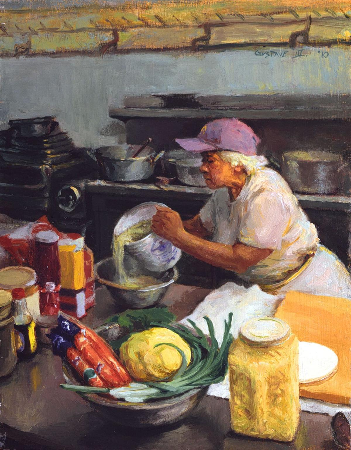 Gustave Leah Chase, Pouring Oysters, 10 x 7.75 in, oil on w.jpg