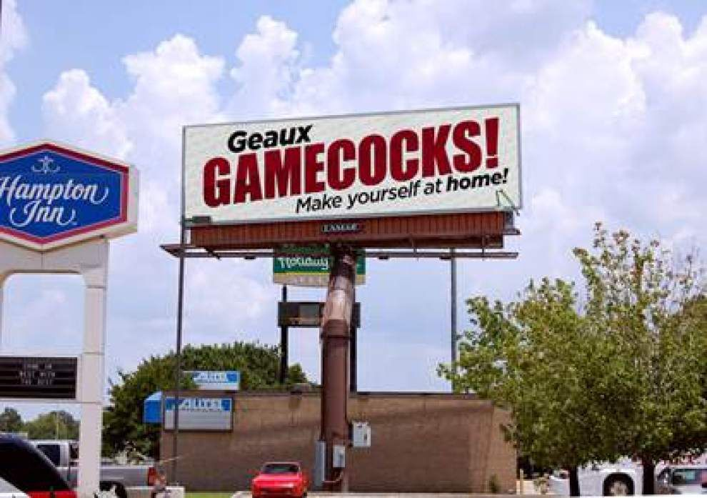 'Geaux Gamecocks!' digital billboards going up around Baton Rouge to greet South Carolina fans _lowres