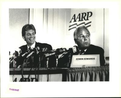 1991 Press Photo Edwin Edwards & David Duke at AARP Statewide Convention