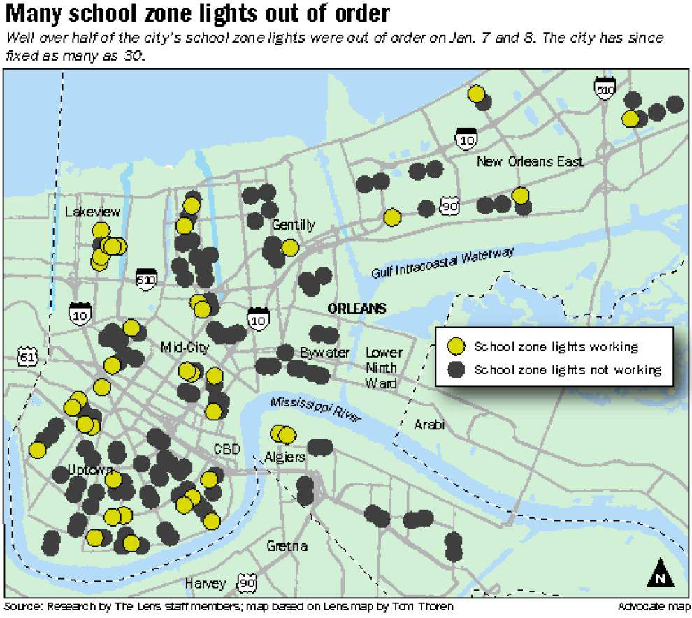 Almost half of flashing school zone lights in New Orleans on the fritz; survey finds many problems _lowres