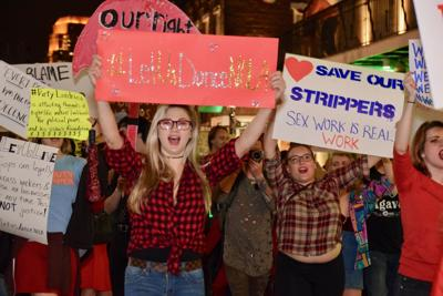'Let us dance': Protesting strip club workers take over Bourbon Street for the second time this week_lowres