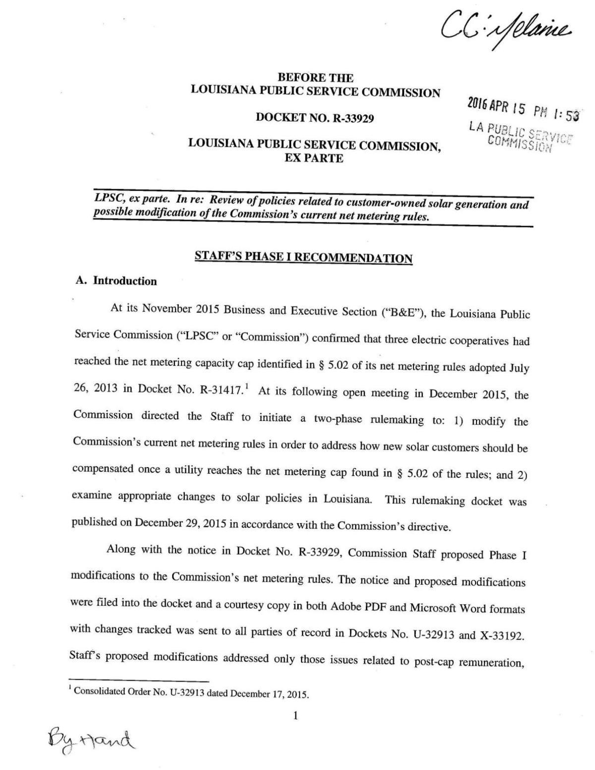 PSC Staff Net Metering Proposal