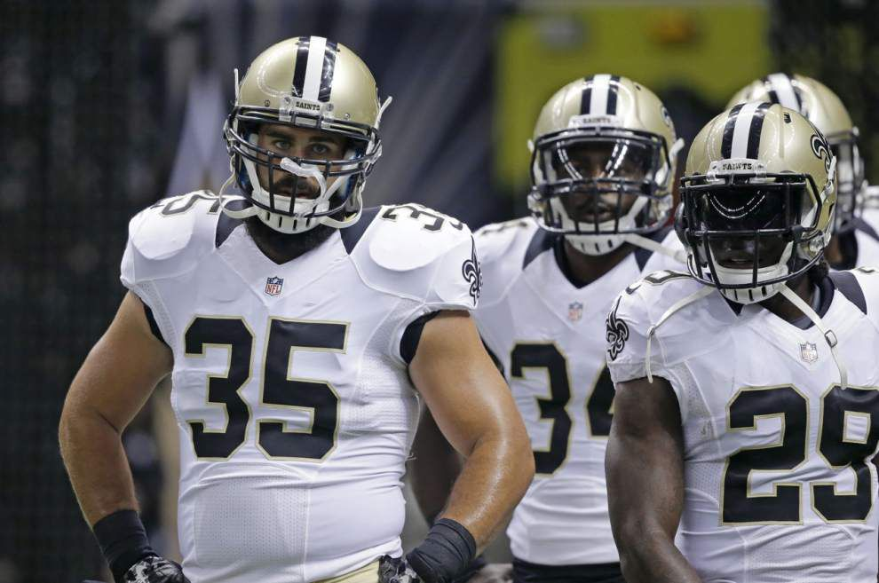 Fullback Austin Johnson returns; five Saints out of open portion of practice Thursday _lowres