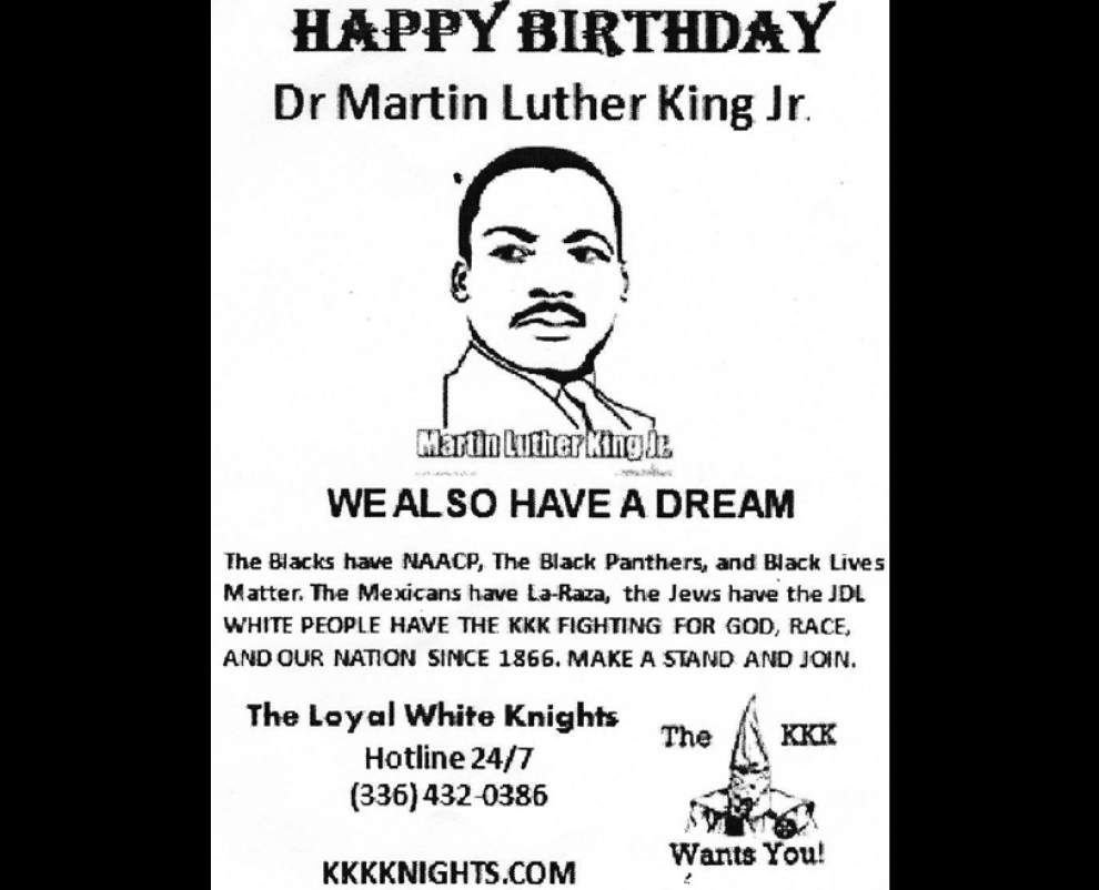 KKK recruiting fliers proclaiming 'We also have a dream' hit Covington driveways on MLK Day _lowres
