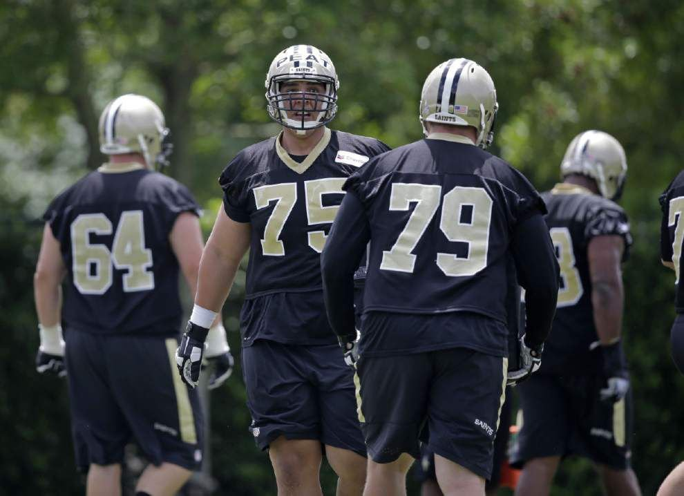His first step — getting on the field — complete, Saints rookie Andrus Peat focuses on his footwork to get where he needs to go _lowres