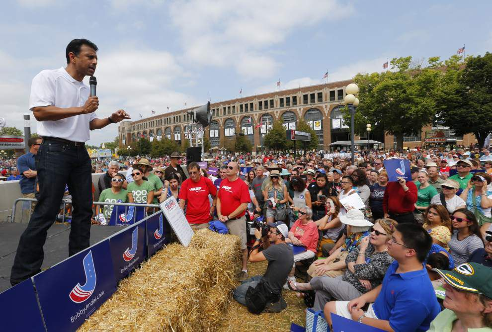 Bobby Jindal takes the Iowa State Fair stage, chats with protestors _lowres