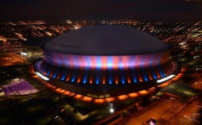 Sneak peek at new Mercedes-Benz Superdome video board lit up _lowres
