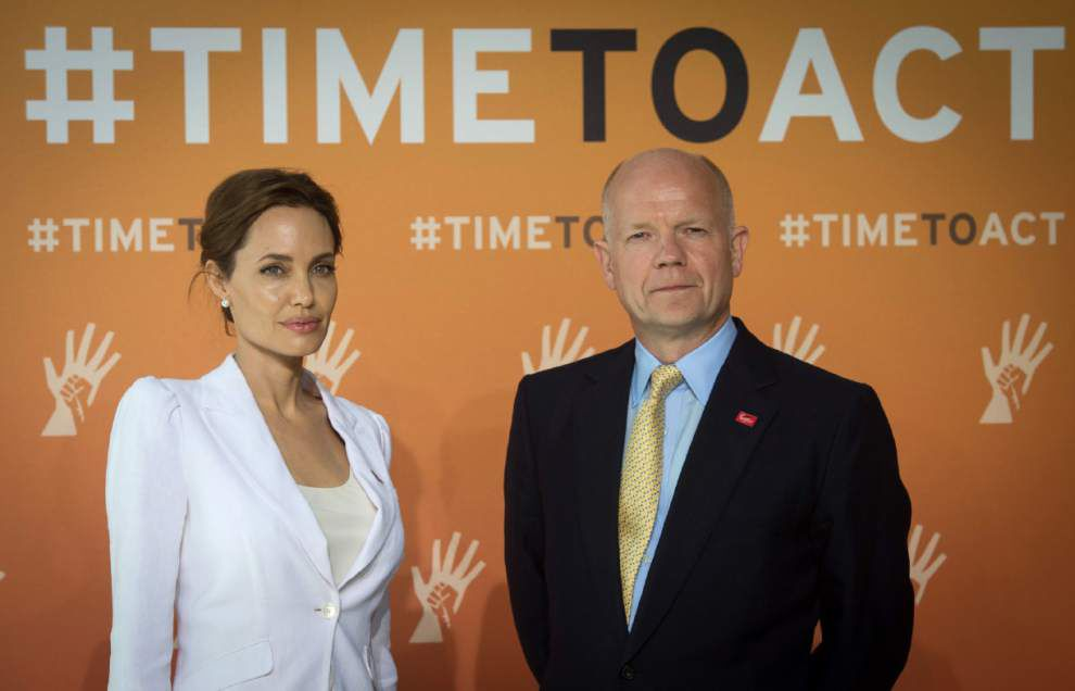 Jolie and UK's Hague host sexual violence summit _lowres