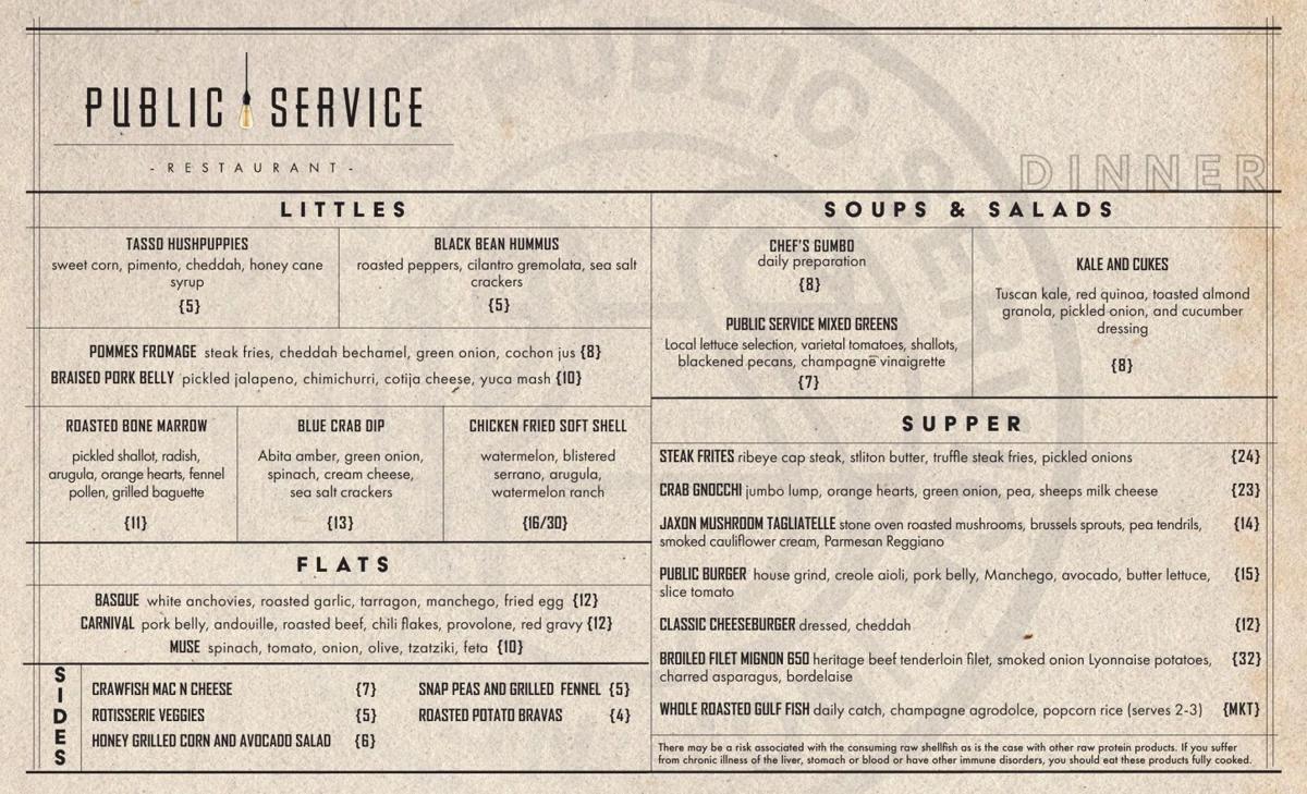 Public Service dinner menu