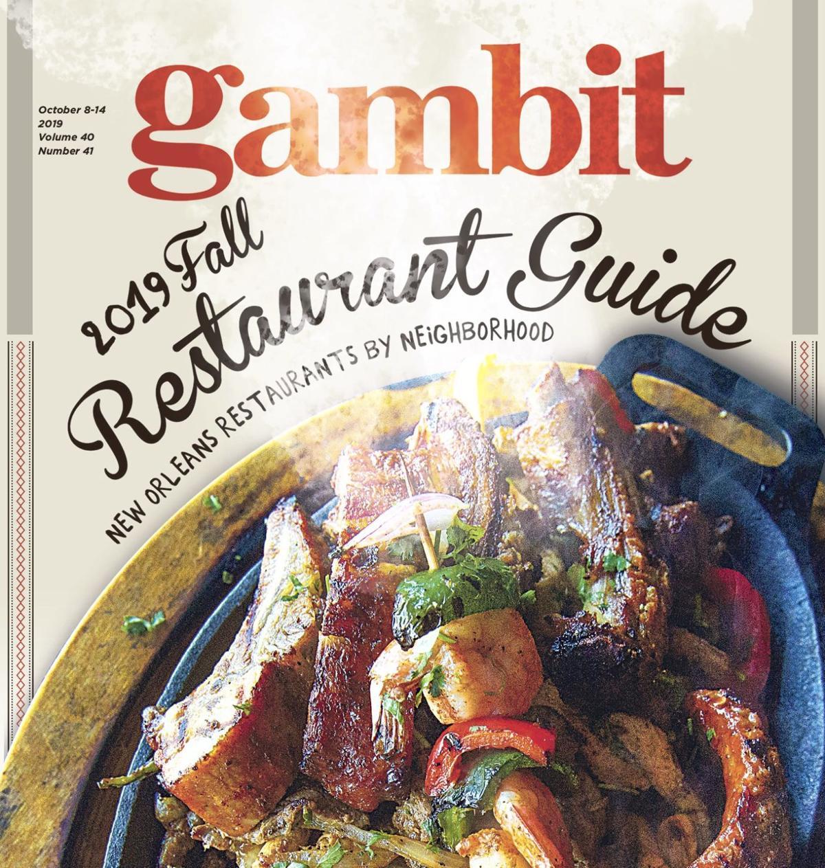 gambit restaurant guide cover