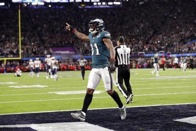Eagles Patriots Super Bowl Football. Buy Now. Philadelphia Eagles  cornerback Jalen Mills ... 3d99e3bbd