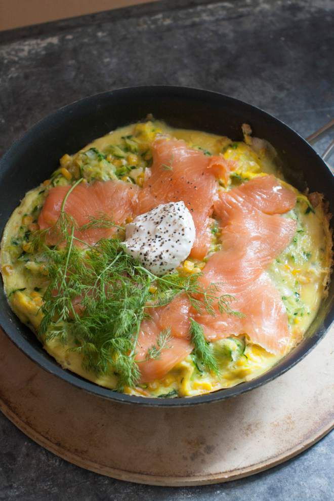 Corn adds sunny side to dinner omelet with salmon _lowres
