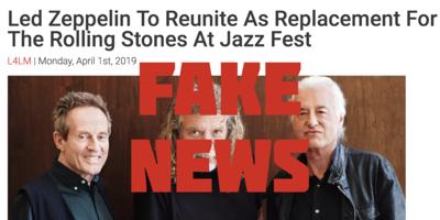 LED ZEP FAKE NEWS