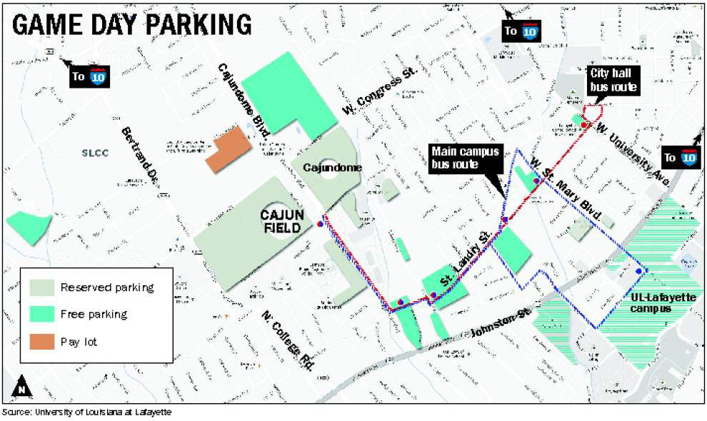 Extra parking available for UL-Lafayette home opener against Southern University _lowres