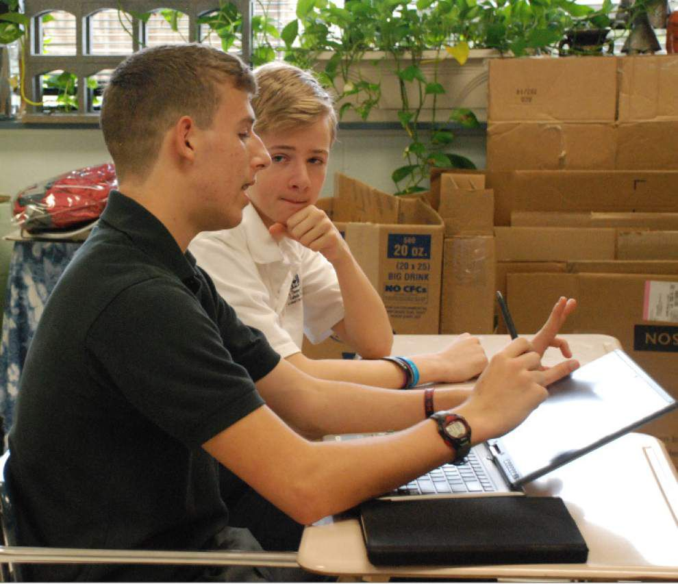 Seventh-graders shadow St. Michael's students _lowres