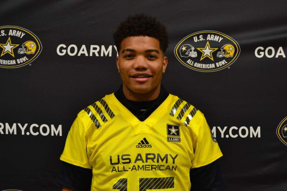 Derrius Guice receives Army All-American jersey _lowres