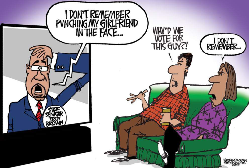 Walt Handelsman: State Sen. Troy Brown isn't the only one having trouble remembering _lowres