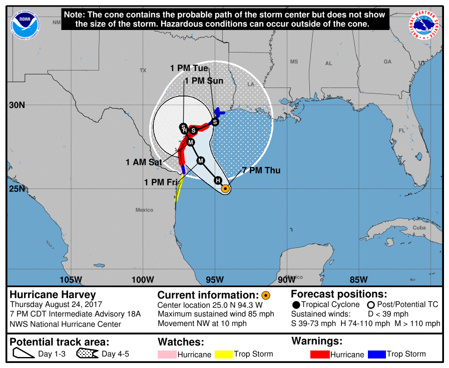 Map Of Texas Storms.Tracking Hurricane Harvey Projected Path Points To Storm Hitting