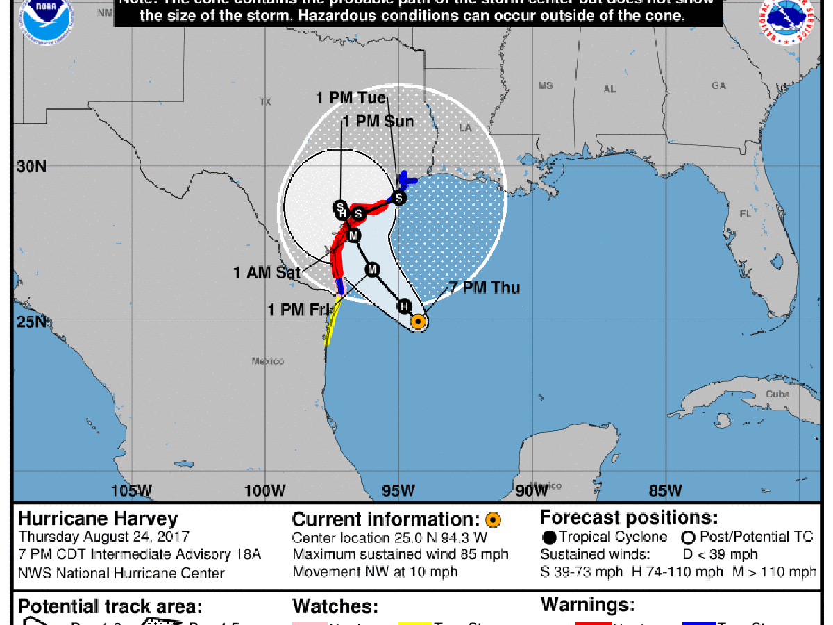 Tracking Hurricane Harvey Projected Path Points To Storm Hitting Louisiana After Texas Weather Traffic Theadvocate Com