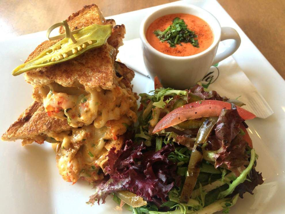 Louisiana Crawfish-Pepper Jack Grilled Cheese With Smoked Tomato-Shrimp Bisque _lowres