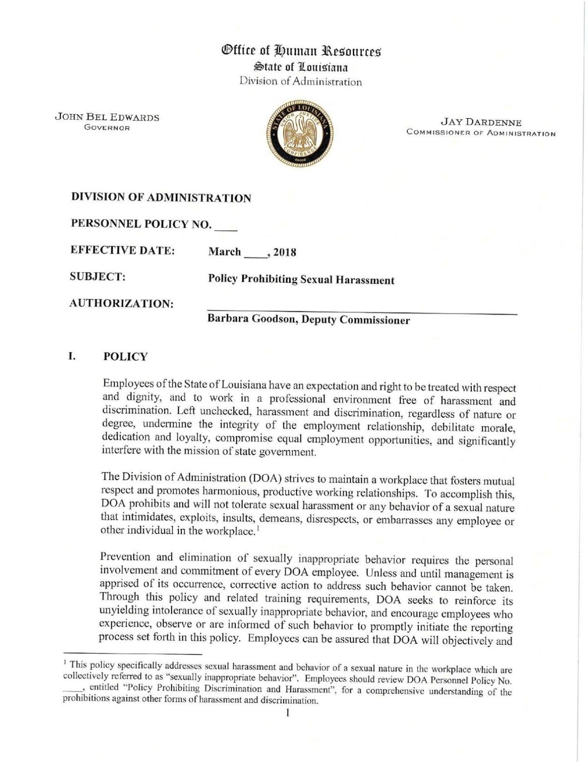 PDF: Draft sexual harassment policy proposed by task force