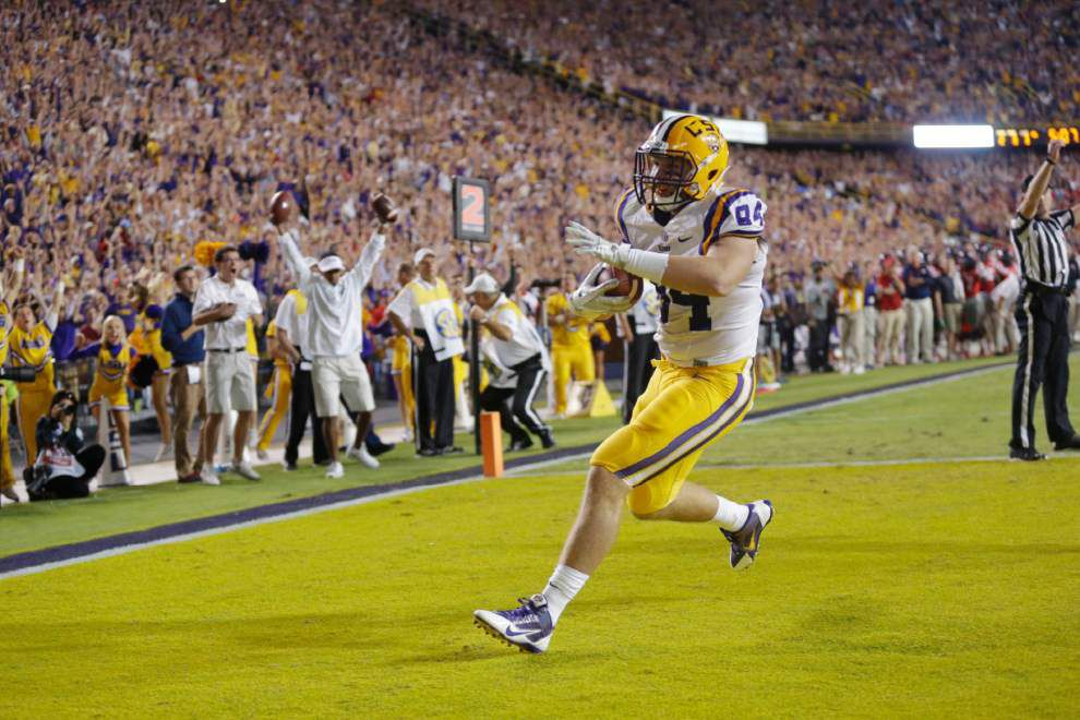 Video: LSU tight end Logan Stokes elated over game-winning touchdown against Ole Miss _lowres