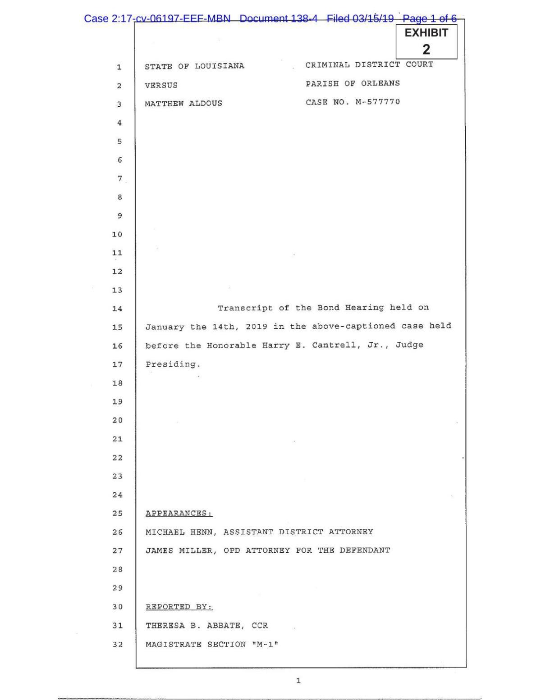 Matthew Aldous bail transcript
