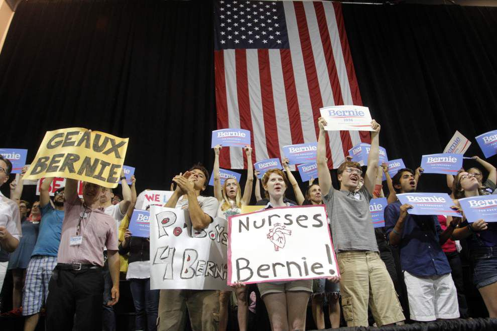 Democratic presidential candidate Bernie Sanders says inequality in America is immoral and 'grotesque' at an appearance in Kenner _lowres