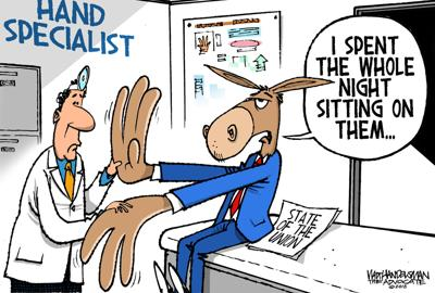 Walt Handelsman: State of the Union--2 toons