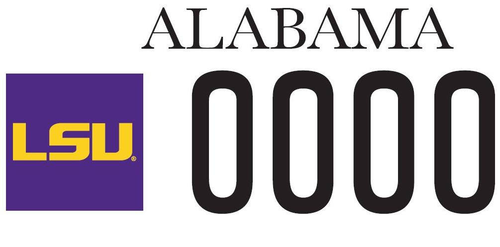 Custom LSU version of Alabama license plate