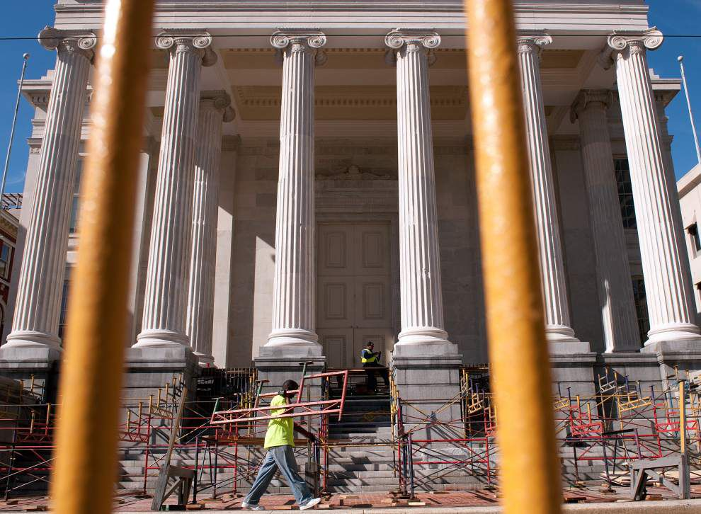 Carnival reviewing stands return to Gallier Hall after facade repairs _lowres
