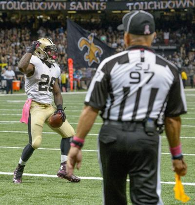 Saints running back Khiry Robinson fined $8,000 for riding football like a horse _lowres