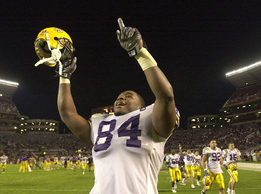 Former LSU and Dallas Cowboys star Marcus Spears says Tigers should promote Brick Haley _lowres