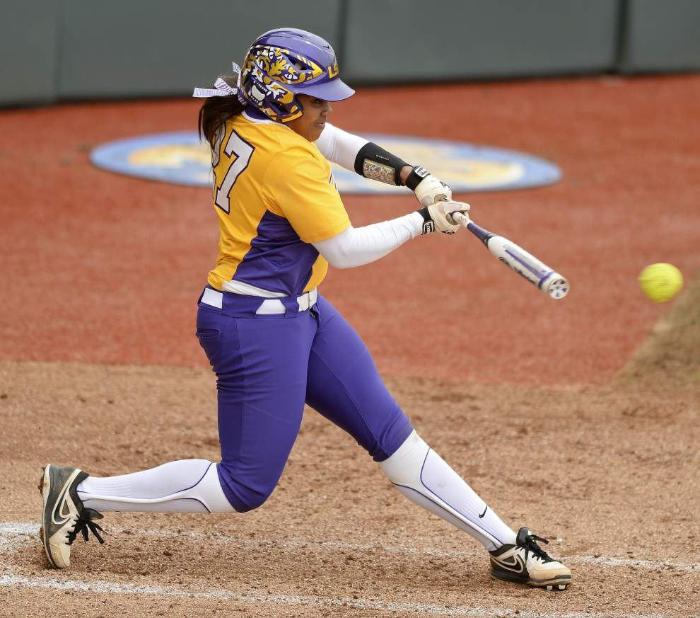 A.J. Andrews' 6 RBIs help LSU softball team dispose of Stephen F. Austin, improve to 21-0 _lowres