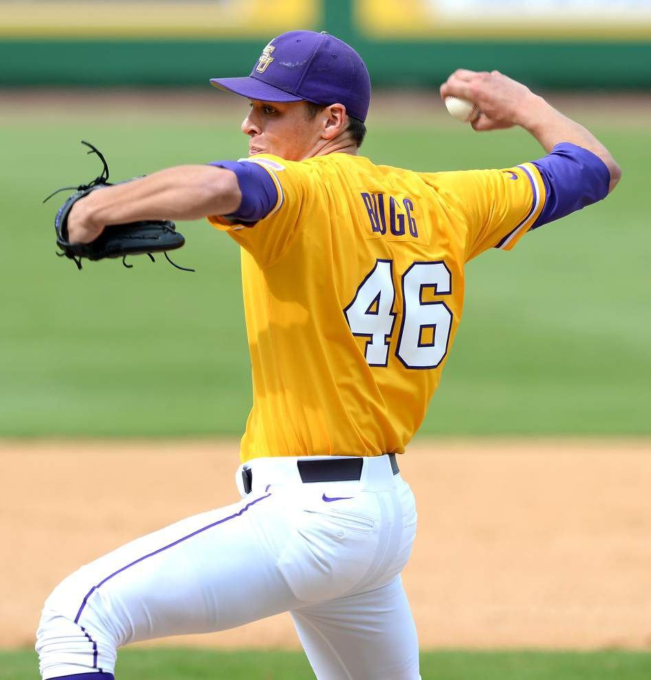 Tiger pitcher Parker Bugg, with his 'ginormous hands' and filthy slider, has climbed to the top of the LSU bullpen pecking order _lowres