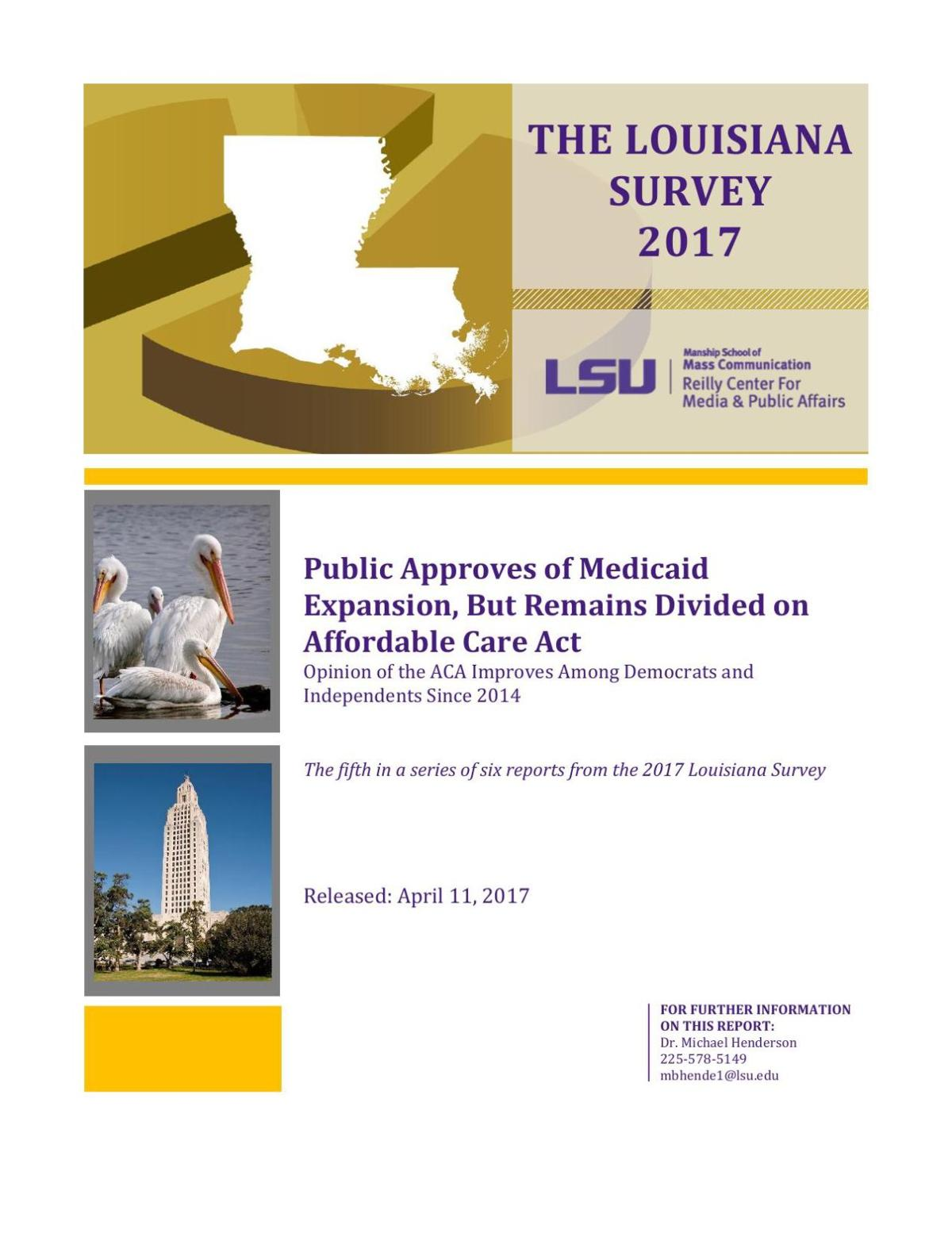 PDF: Read the 2017 Louisiana Survey results on Medicaid expansion and the Affordable Care Act