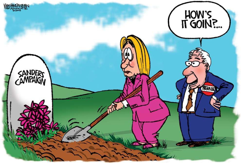 Walt Handelsman: Much to Hillary's dismay -- Bernie will not get out _lowres
