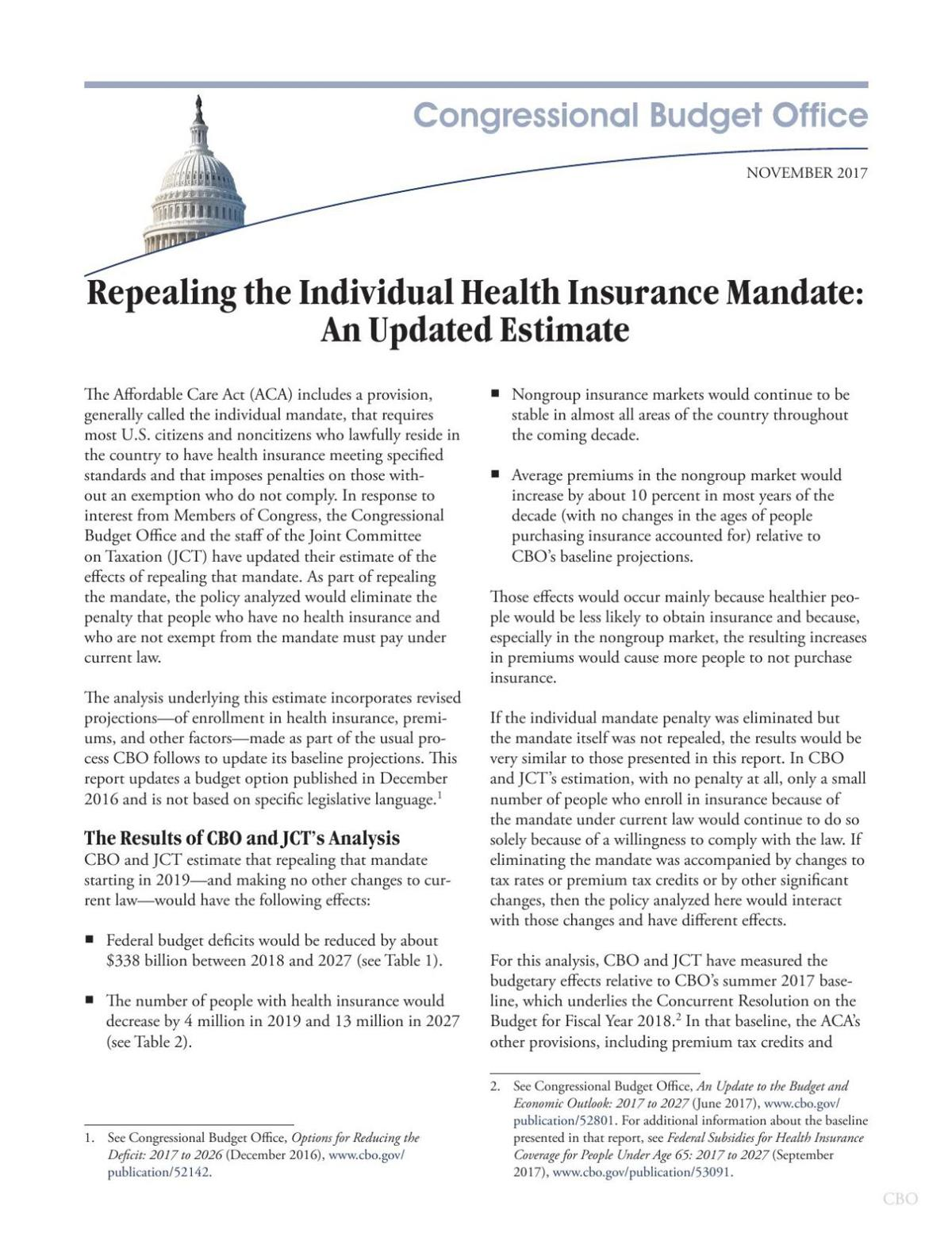 Congressional Budget Office November 2017 analysis on individual mandate. Report 53300