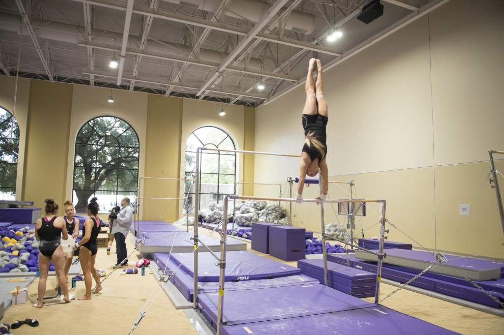 LSU gymnasts practicing in new facility; completion expected in February _lowres