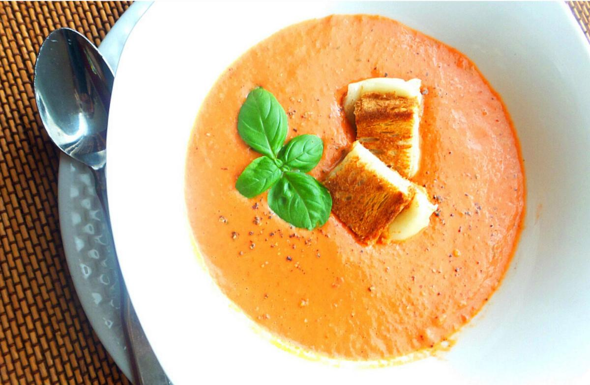 Veganish Cookbook Tomato Soup with Grilled Cheese Croutons.jpg