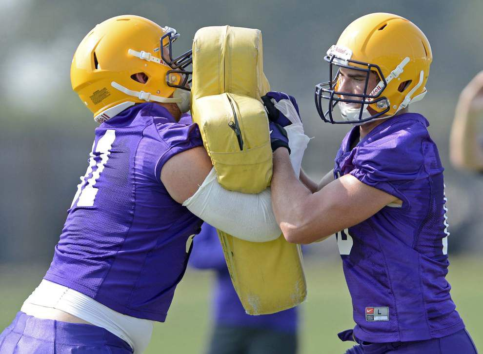 LSU defensive tackles pushing each other _lowres