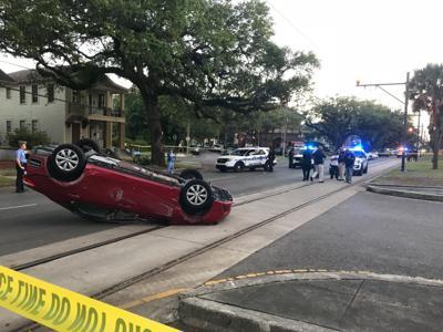 Flipped car in 1000 block of N. Carrollton Avenue