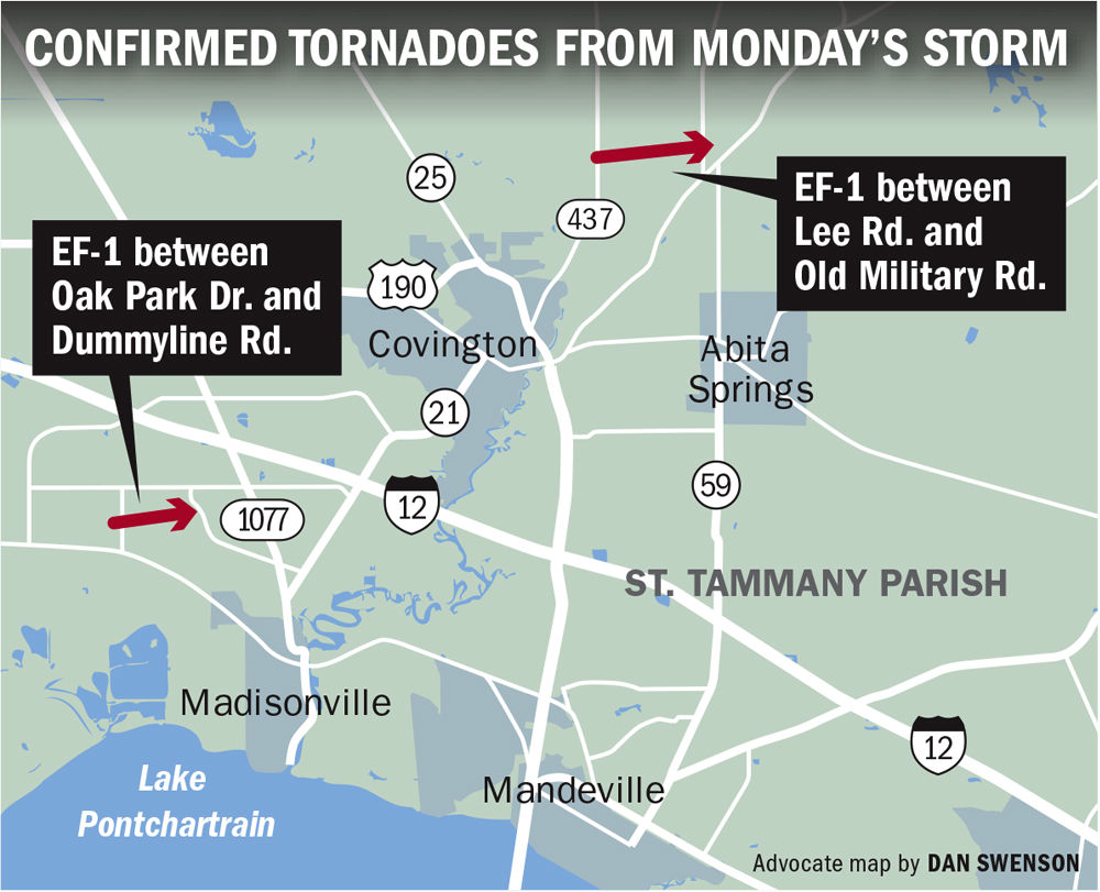 New Orleansarea Severe Weather Two Tornadoes Runaway Barges In - Flooded roads map