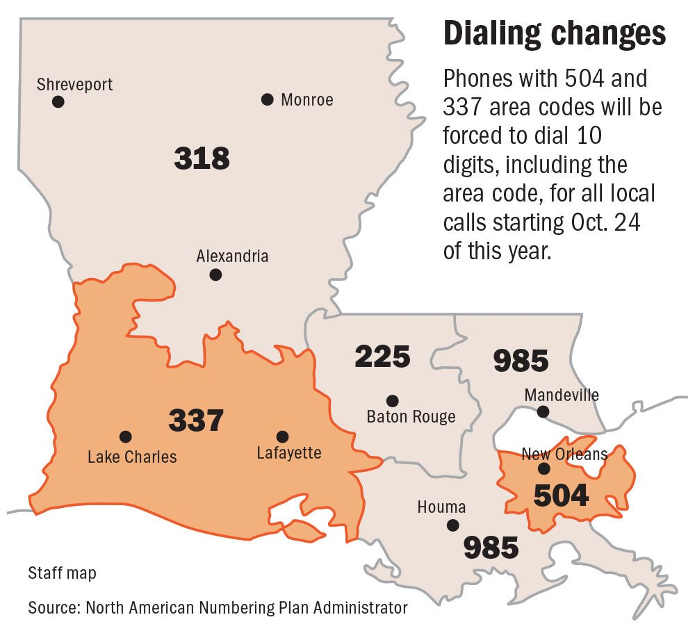 Louisiana area codes map