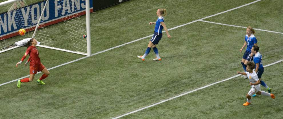 Strike by China's Wang Shuang stole show during U.S. soccer legend Abby Wambach's farewell match at the Superdome _lowres