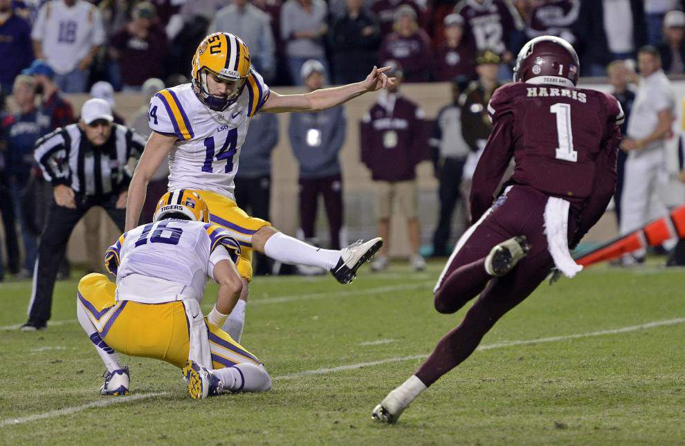 Colby Delahoussaye, Trent Domingue chasing LSU's field goal kicker job _lowres